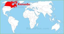 Kanada auf der Weltkarte