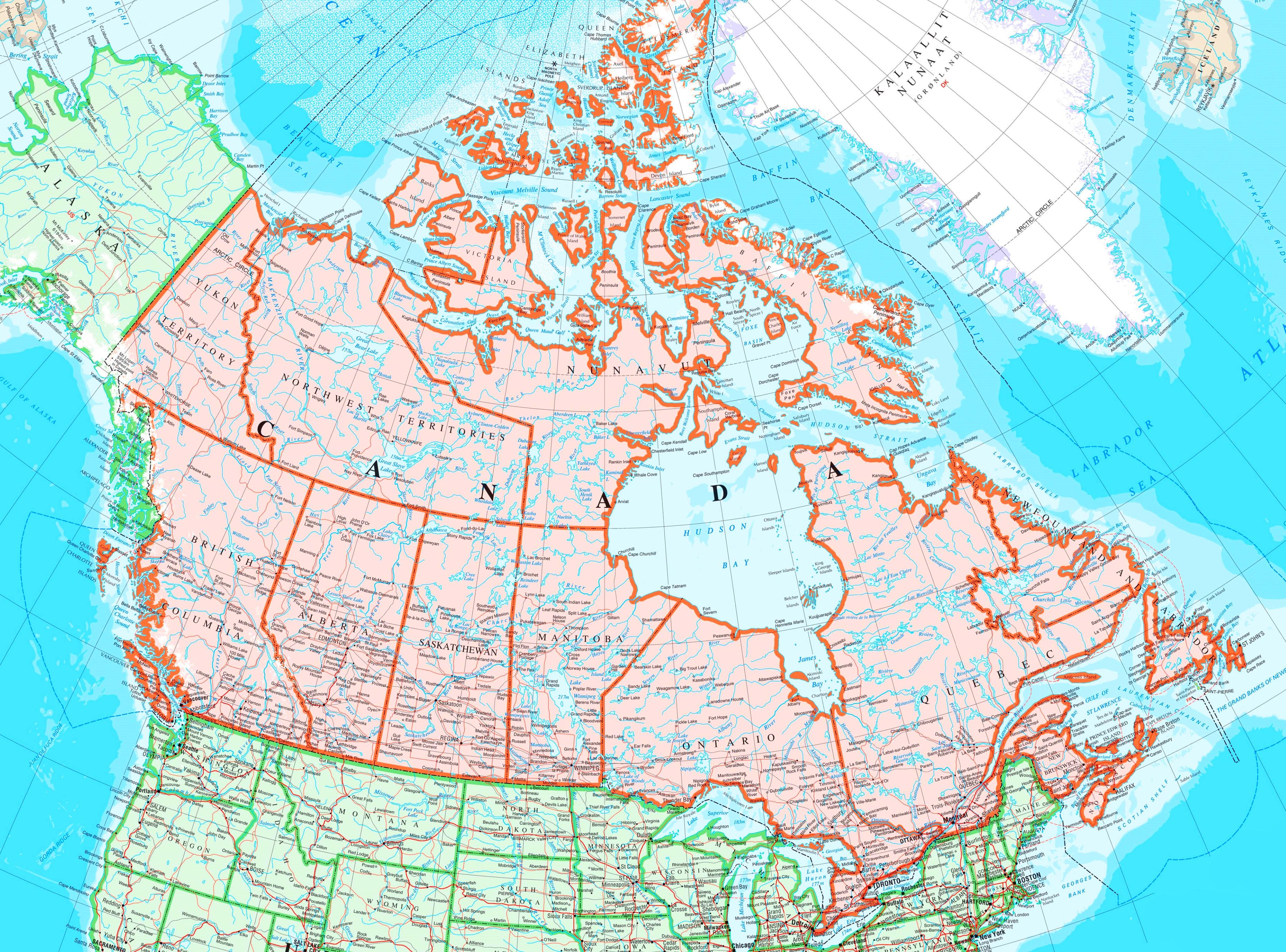 Karte Von Kanada Mit Stadten