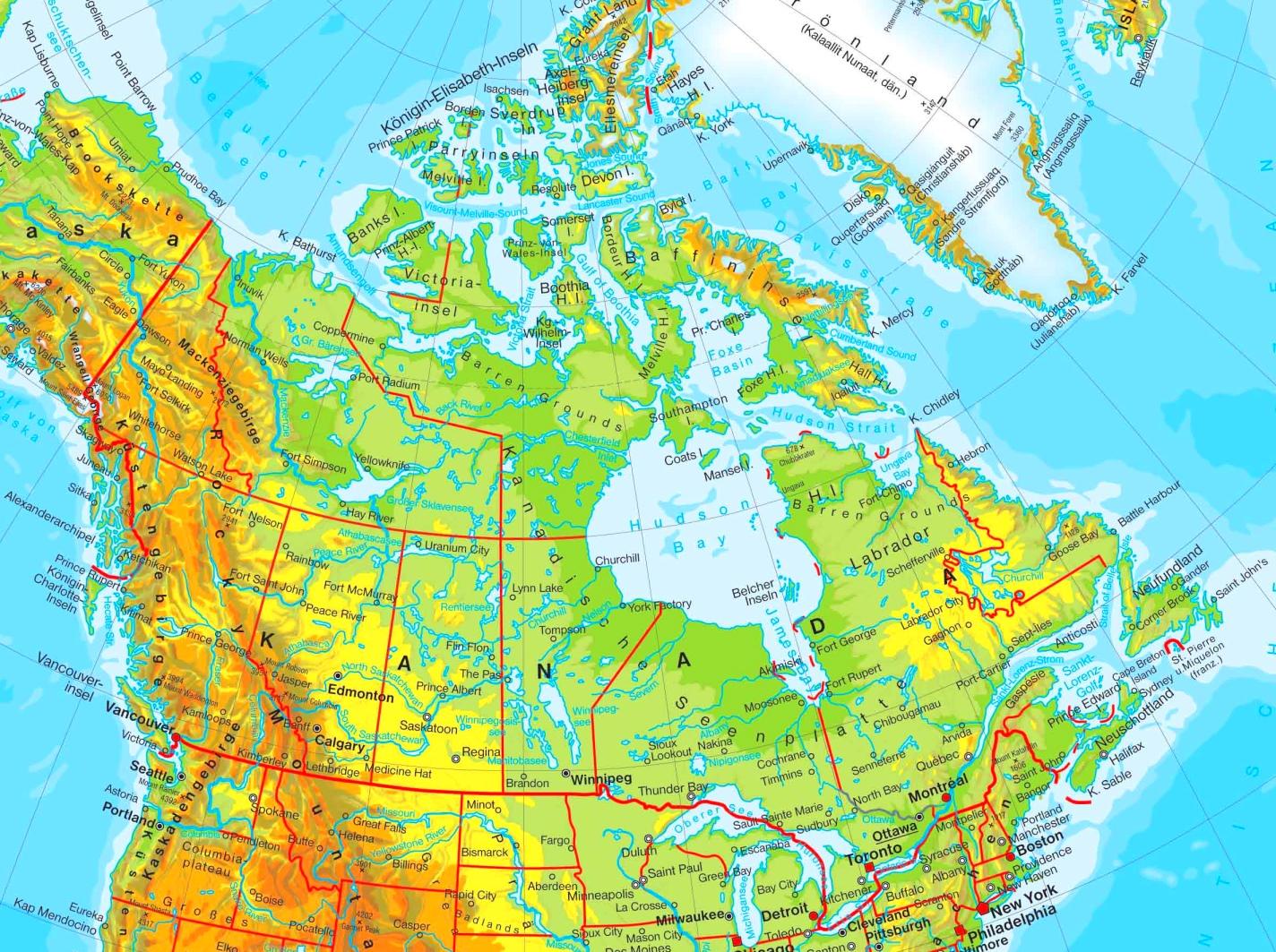 Physische Landkarte Von Kanada