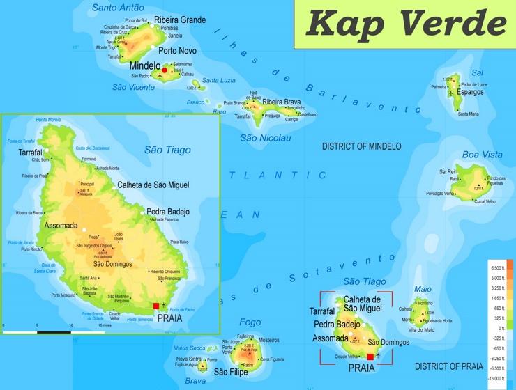 Physische landkarte von Kap Verde