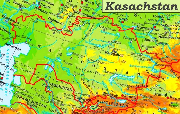 Physische landkarte von Kasachstan