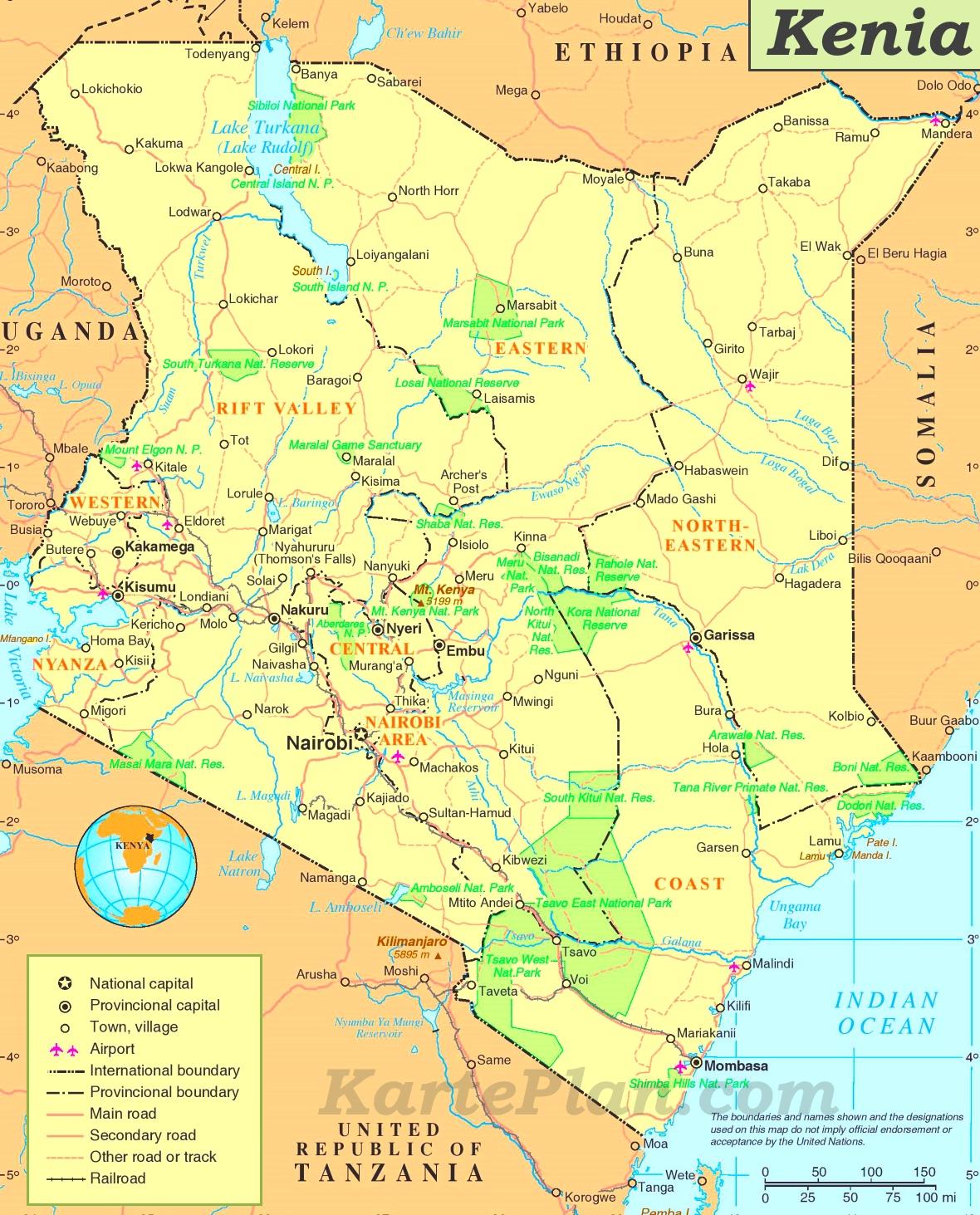 Kenia Karte.Kenia Politische Karte