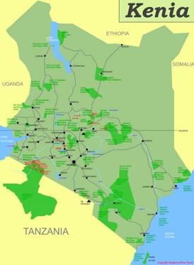Kenia touristische karte