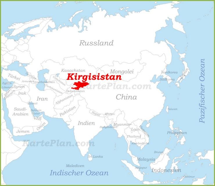 Kirgisistan auf der karte Asiens