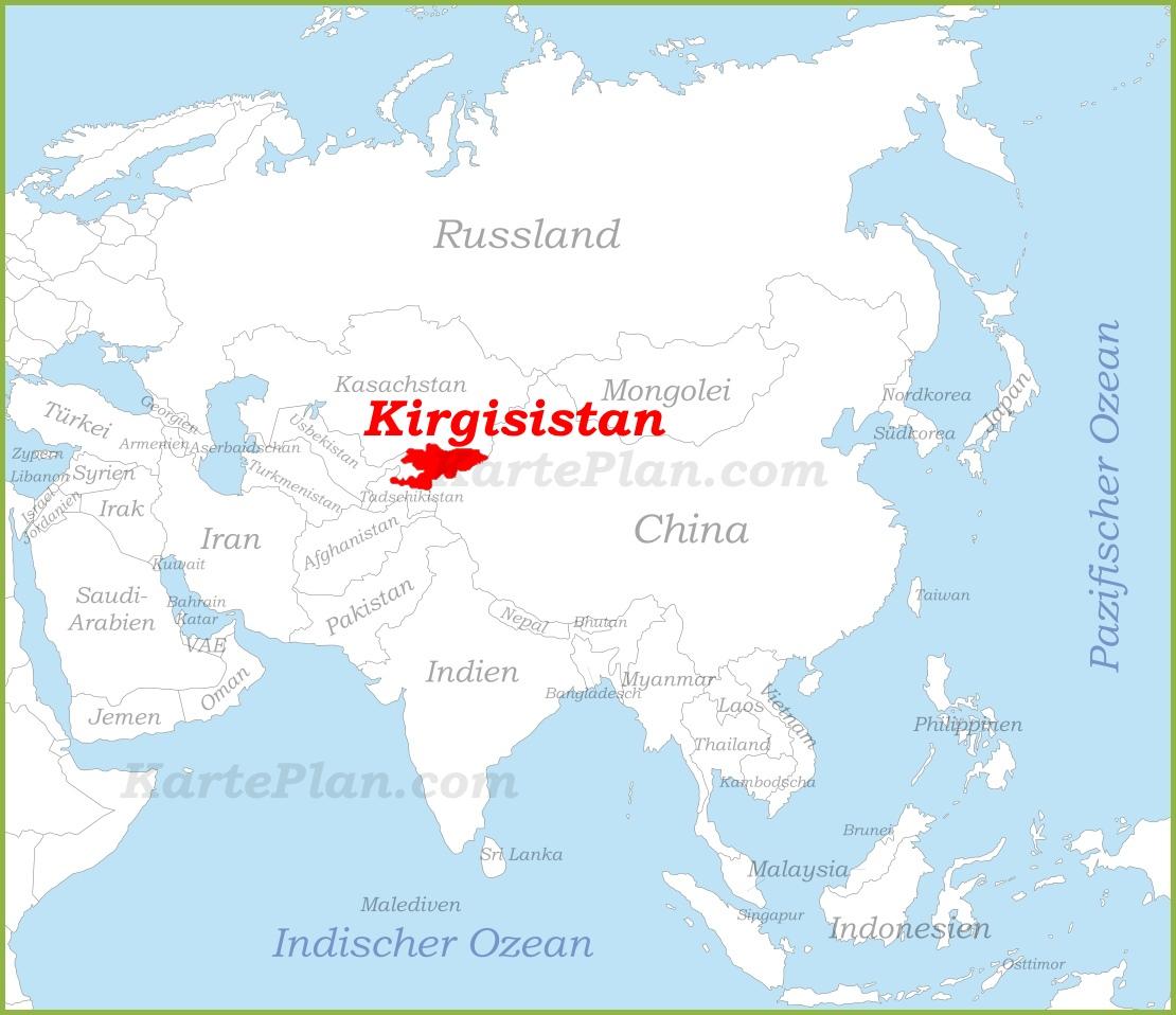 kirgisistan karte Kirgisistan auf der karte Asiens