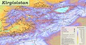 Physische landkarte von Kirgisistan