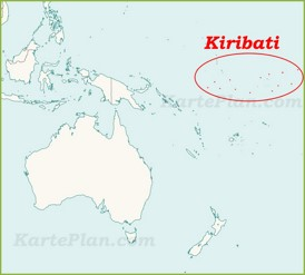 Kiribati auf der karte Ozeaniens