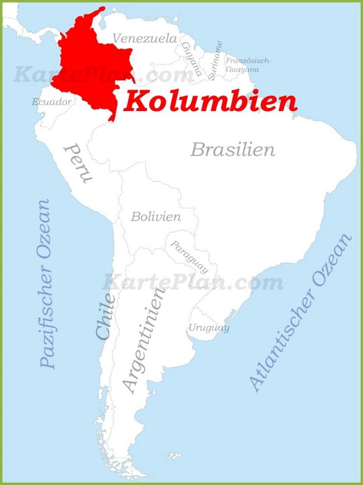 Kolumbien auf der karte Südamerikas