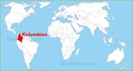 Kolumbien auf der Weltkarte