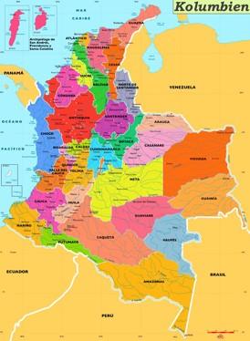 Kolumbien politische karte