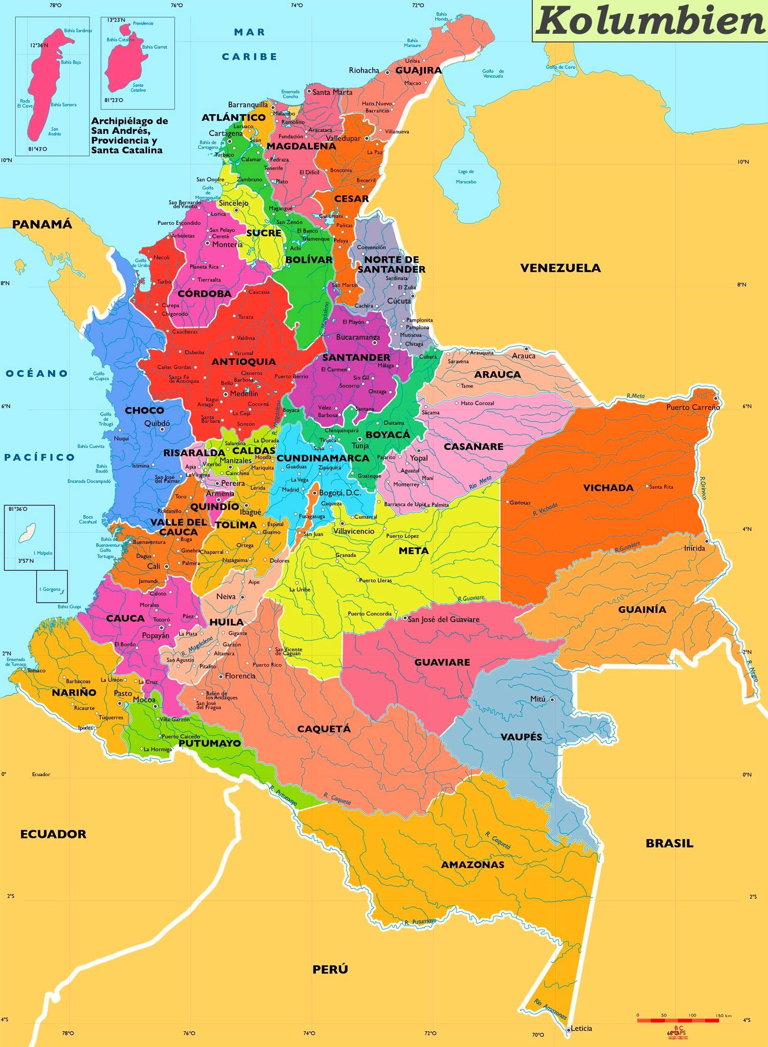 karte kolumbien Kolumbien politische karte