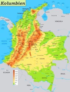 Physische landkarte von Kolumbien