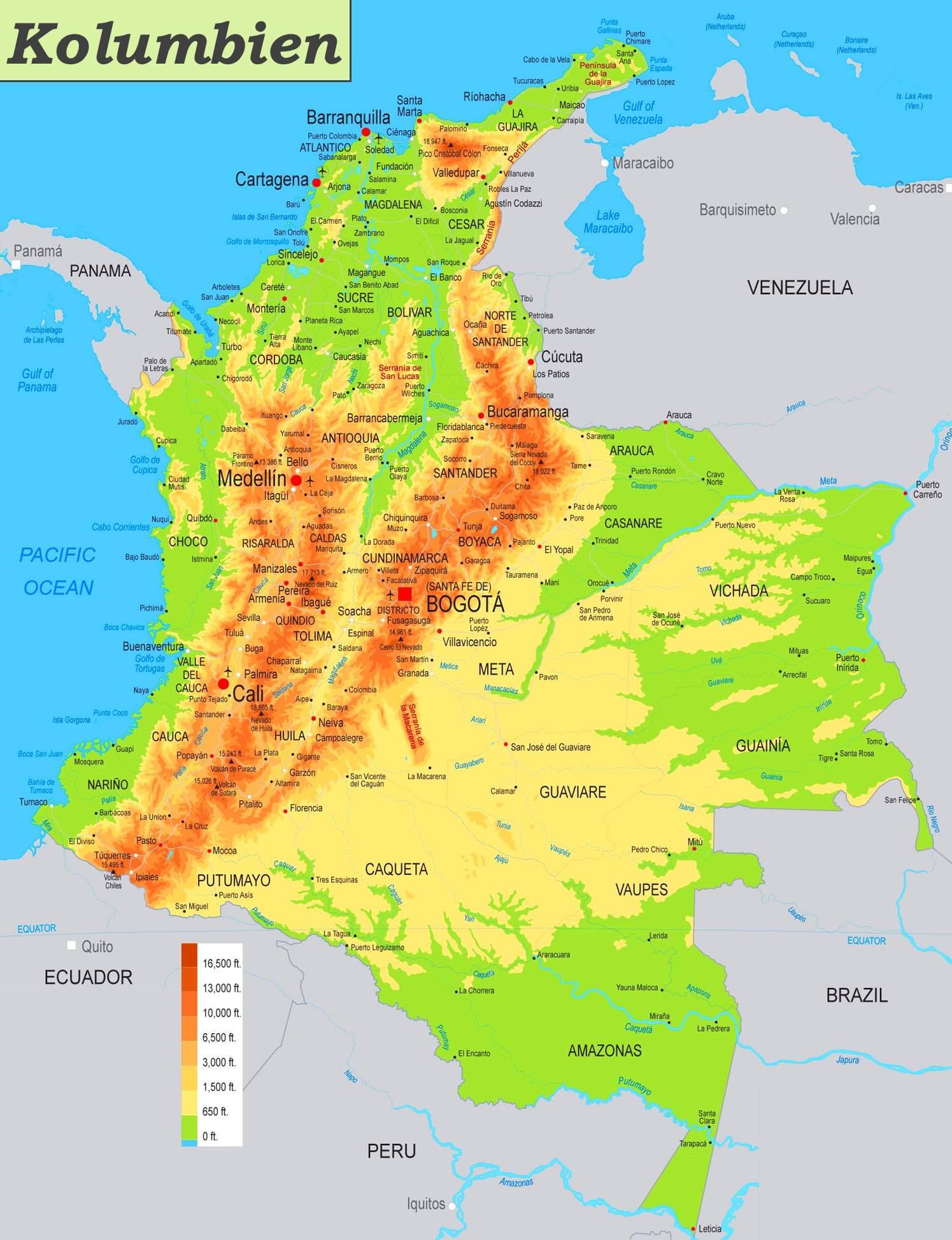 karte kolumbien Physische landkarte von Kolumbien