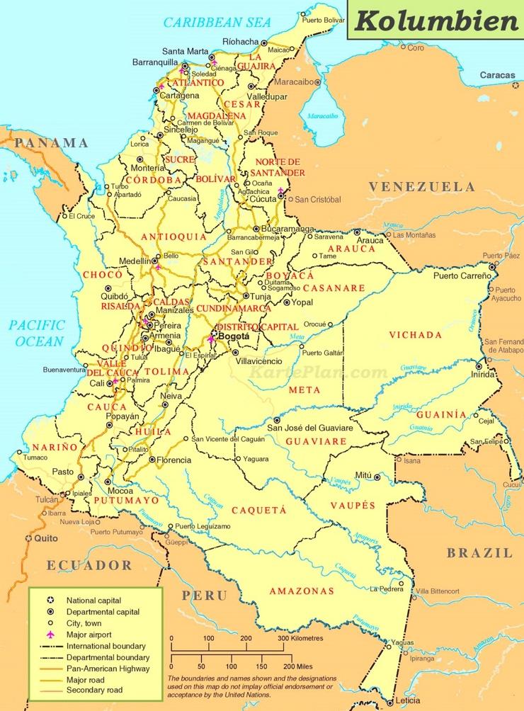 Straßenkarte Kolumbien