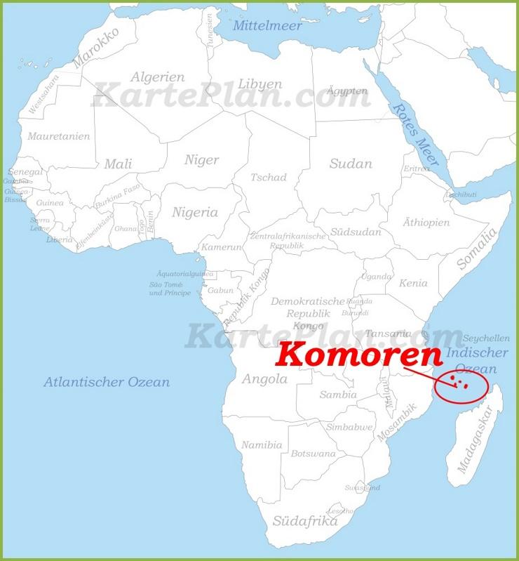 Komoren auf der karte Afrikas