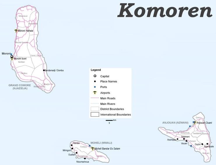Komoren politische karte