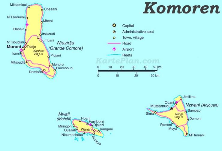 Straßenkarte Komoren