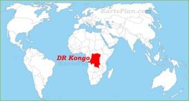Demokratische Republik Kongo auf der Weltkarte
