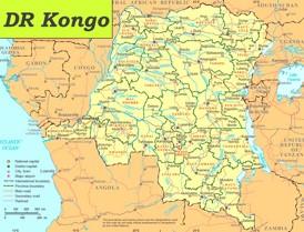 Demokratische Republik Kongo politische karte