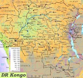 Physische landkarte von Demokratische Republik Kongo