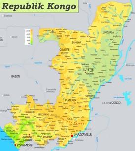 Physische landkarte von Republik Kongo