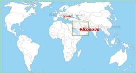 Kosovo auf der Weltkarte