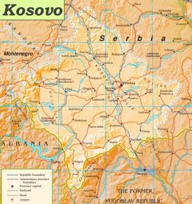 Kosovo politische karte