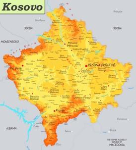 Physische landkarte von Kosovo