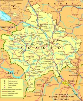 Straßenkarte Kosovo