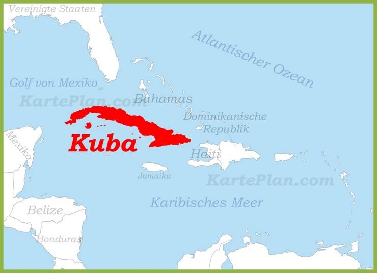 Kuba auf der karte Karibiks
