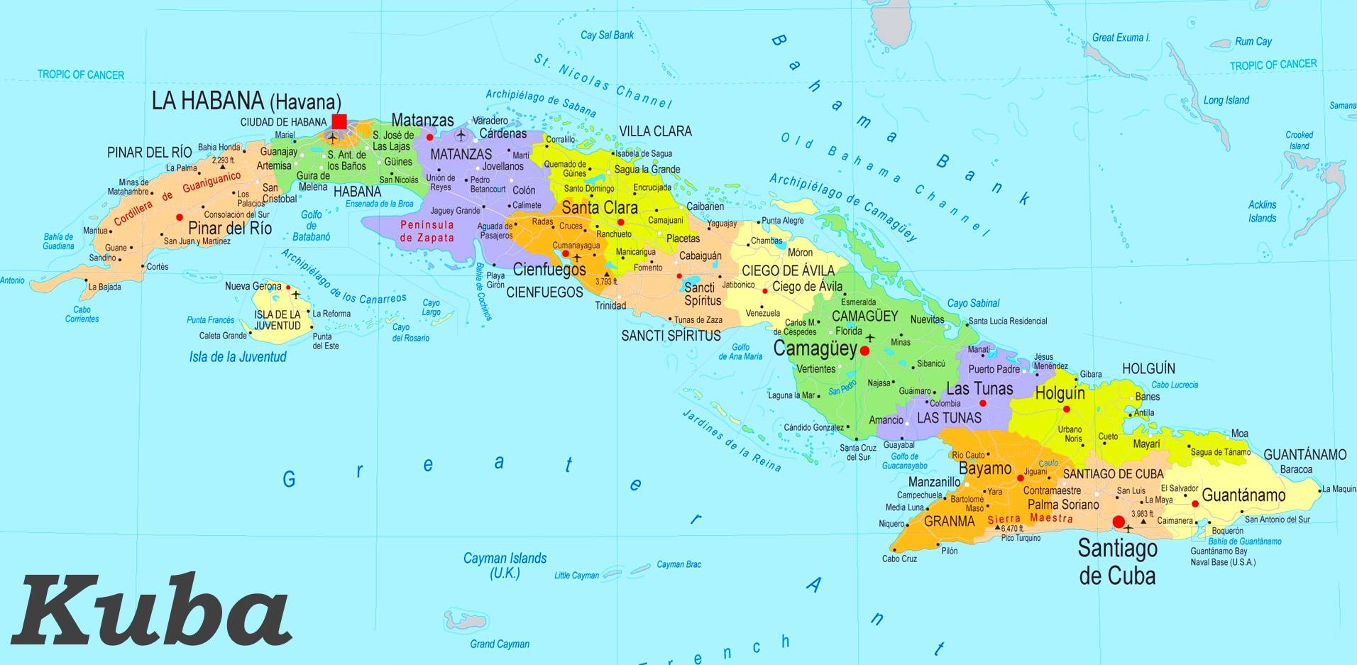 Karte Kuba.Kuba Politische Karte