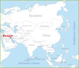 Kuwait auf der karte Asiens