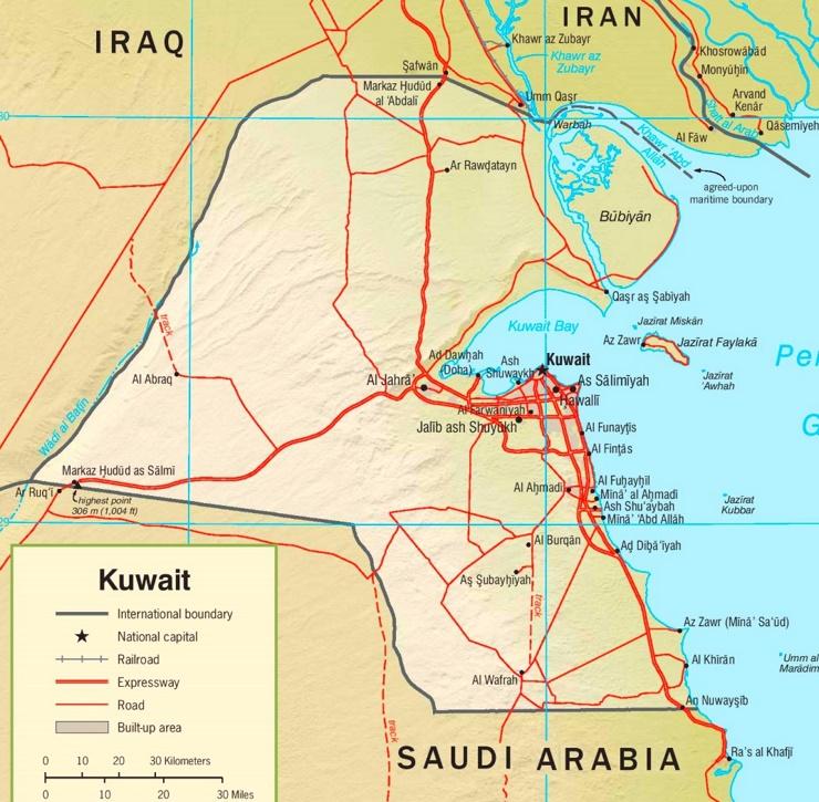 Straßenkarte Kuwait