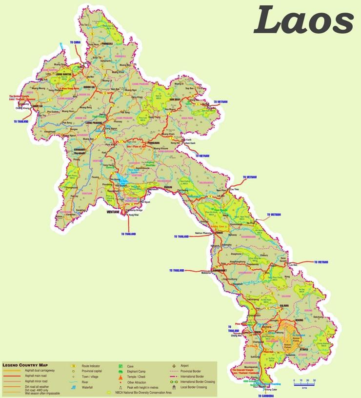 Laos touristische karte