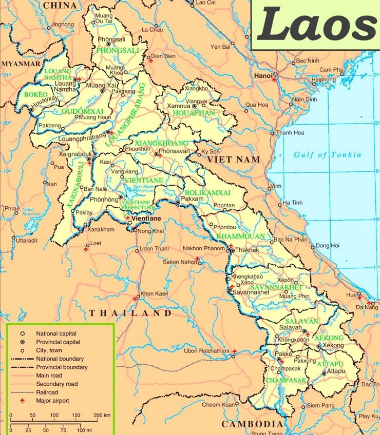 Straßenkarte Laos