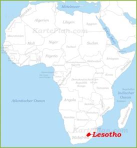 Lesotho auf der karte Afrikas