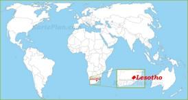 Lesotho auf der Weltkarte