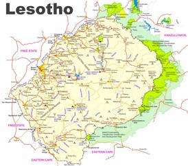 Lesotho touristische karte