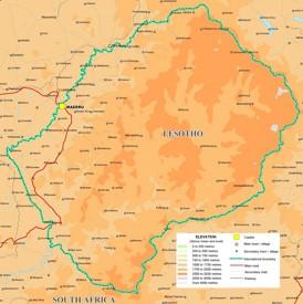 Physische landkarte von Lesotho