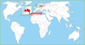 Lettland auf der Weltkarte