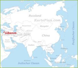 Libanon auf der karte Asiens