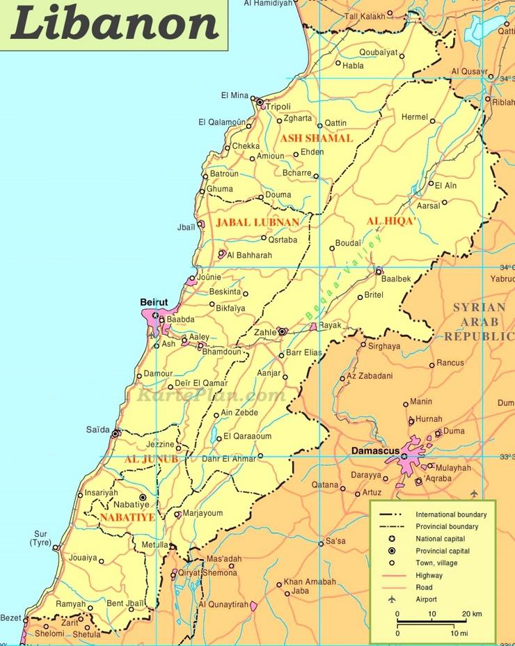 Libanon politische karte