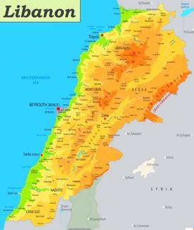 Physische landkarte von Libanon
