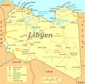 Straßenkarte Libyen