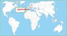 Liechtenstein auf der Weltkarte