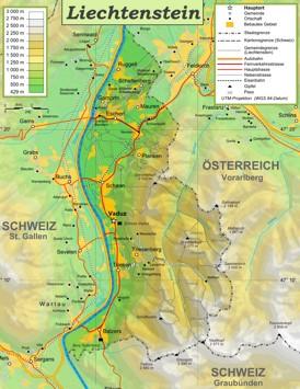 Physische landkarte von Liechtenstein