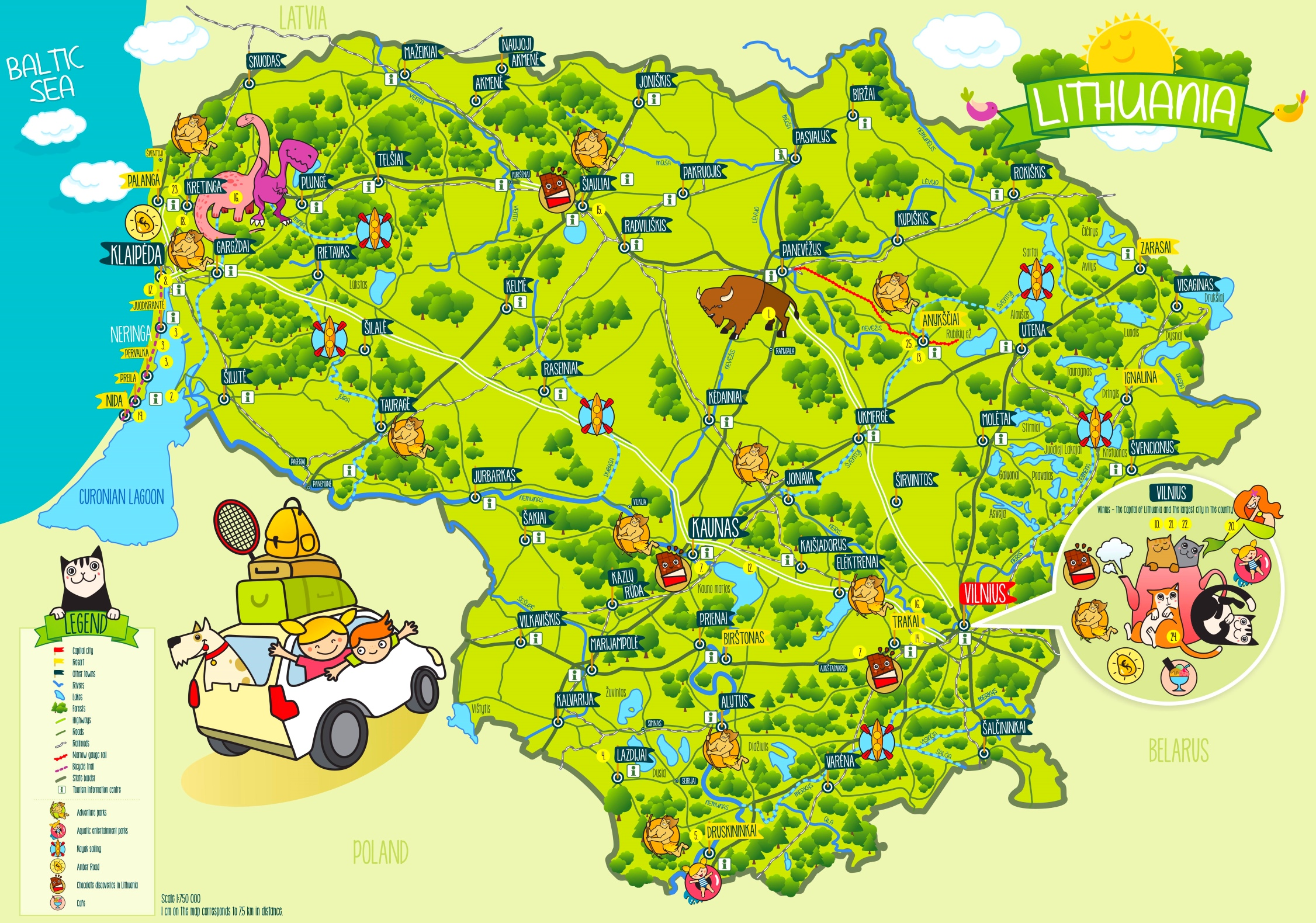 litauen karte Litauen touristische karte