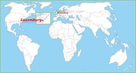Luxemburg auf der Weltkarte
