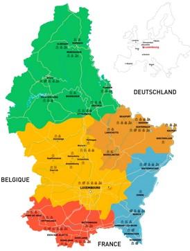 Luxemburg politische karte