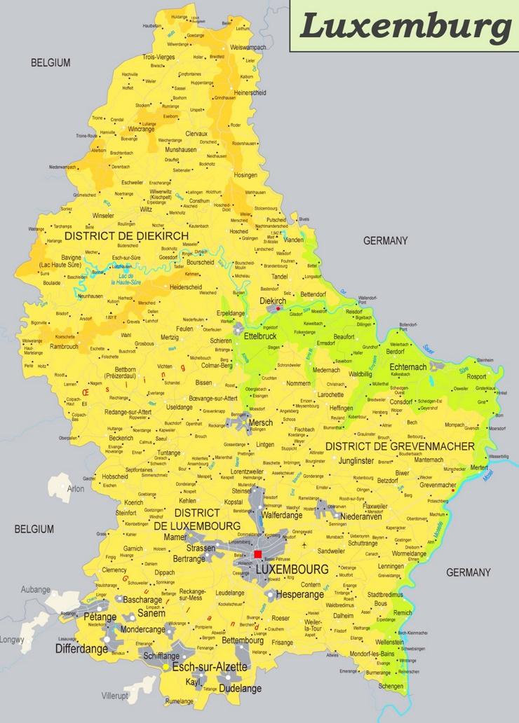 Physische landkarte von Luxemburg